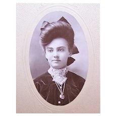 Victorian Black & White Photo in Folder - Young Lady with BIG Hair - Clinton, Mo Photographer