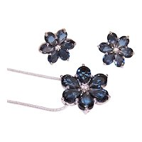 Vintage Sterling Silver Blue Glass Crystal Jewelry Set - Pierced Earrings and Pendant Necklace