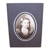 Edwardian B&W CabinetCard Photograph - Young Girl with Pigtails