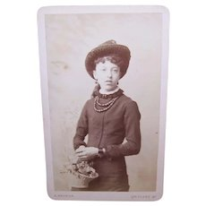 Victorian London England Fleet Street Photograph of Young Lady Carrying a Basket of Flowers