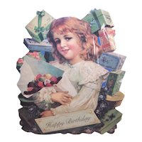 The Old Print Factory Vintage Unopened Greeting Card - Happy Birthday - Young Girl with Bouquet of Flowers