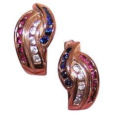 Ross Simons Sterling Silver Vermeil Red White Blue Crystal Pierced Earrings - Hoops