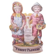 Forest Flowers Cologne - Boy & Girl in Pink - Victorian Trade Card