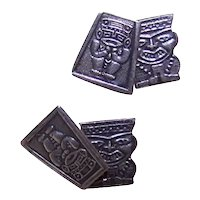 South American Fine Silver Cufflinks Cuff Links - Aztec Inca Mayan Tribal God Figures