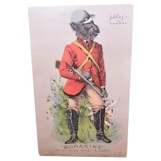 JD Larkin Boraxine - Chimpanzee Dressed as Pheasant Hunter - Victorian Trade Card
