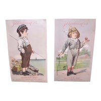 JD Larkin Boraxine -  Boy Playing with Spinning Top - Boy with Fishing Rod - 2 Victorian Trade Cards