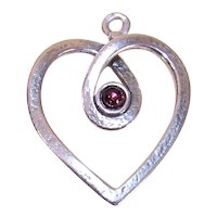 Made in Israel Sterling Silver Garnet Heart Pendant or Large Charm