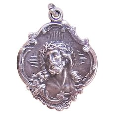 HMH Religious Sterling Silver Medal Pendant - Jesus Crowned with Thorns - I am a Protestant