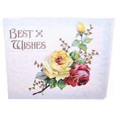 Victorian Embossed Best Wishes Christmas Greeting Card - Catherine Klein Red & Yellow Roses Cover