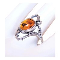 Sterling Silver Baltic Amber Fashion Ring - Size 6.75