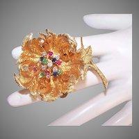 Hammerman Brothers 18K Gold 1CT TW Multi Gem Articulated Flower Fur Clip Pin/Brooch