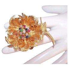 Hammerman Brothers 18K Gold 1CT TW Multi Gem Articulated Flower Fur Clip Pin/Brooch