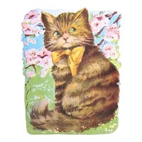 Vintage C.1930 Art Deco Die Cut - Brown Tabby Cat with Gold Ribbon Bow - Louis Wain Look