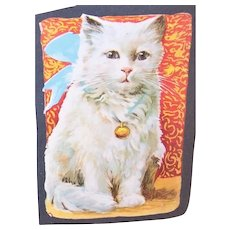 C.1930 Art Deco Die Cut - White Tabby Cat with Blue Ribbon - Louis Wain Look