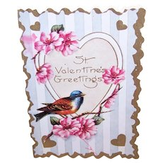 Art Deco Used Valentines Day Card - Bird with Cherry Blossoms