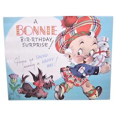 Unique Happy Birthday Greeting Card with a Touch of Scotland - Scottish Terrier Thistle Man in Kilt