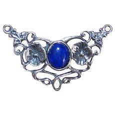 Art Nouveau Revival Sterling Silver Lapis Lazuli Necklace Drop Pendant Drop for Chain