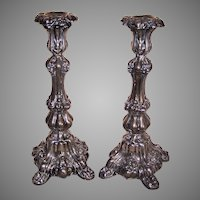 Antique European Judaica 800 Silver Shabbat Sabbath Candlesticks