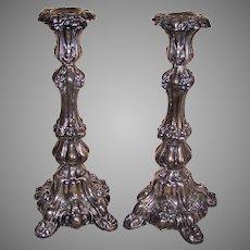 Antique European Judaica 800 Silver Shabbat Sabbath Candlesticks