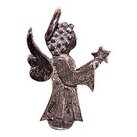 Small Bauer Sterling Silver Stand Up Nativity Angel Decoration