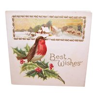 Unused C.1910 Best Wishes Christmas Greeting Card - Red Robin with Winter Scene