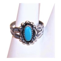 Bell Trading Post Sterling Silver Turquoise Ring - Size 4.25
