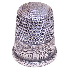 Vintage Simons Bros Size 11 Sterling Silver Landscape Thimble - Engraved Farm Scene with Bridge, House and Trees
