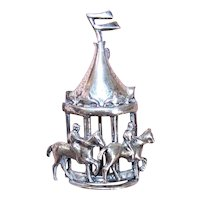 Lang Sterling Silver Pin - Carnival Carousel - Jockeys on Horses Go Round and Round