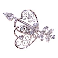 Tru-Kay Sterling Silver White Rhinestone Pin - Double Hearts with Arrow Piercing One - Valentines Day Brooch