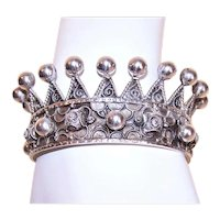 Fine Silver Filigree Crown for Religious Santos or Crown-Like Cuff Bracelet