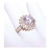 Sterling Silver Vermeil Cubic Zirconia CZ Crystal Fashion Ring - Large Solitaire with Halo Setting