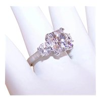 Sterling Silver 3CT TW Cubic Zirconia CZ Crystal Fashion 3 Stone Ring