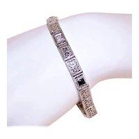 "Art Deco 14K Gold .93CT TW Diamond Blue Sapphire 7"" Filigree Bracelet"