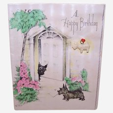 Vintage Made in Japan Celluloid Scotty Dog Charm on Original Presentation Scottish Terrier Birthday Card