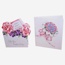 2 Vintage 1950s Floral Gift Cards - Wedding & Happy Birthday