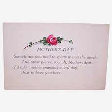 Art Deco Unused Mothers Day Card with Handpainted Red Rose