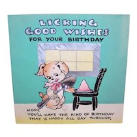 Vintage Hallmark Happy Birthday Greeting Card - Puppy with Silver Spoon