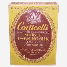 Vintage Corticelli Midget Darning Silk Box with Cat Graphic