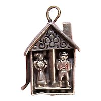Vintage Walter Lampl Sterling Silver Enamel Charm - Colonial Couple in Small House