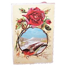 Victorian Unused Greeting Card with Birds - Suitable for Valentines Day or Christmas