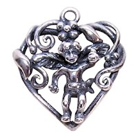 Sterling Silver Charm - Curlicue Heart with Angel Cupid Putti Cherub