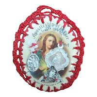 American Religious Devotional - Apostleship of Prayer Sacred Heart of Jesus Handmade Scapular with Encased Medals