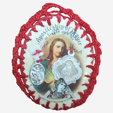 Vintage Apostleship of Prayer Sacred Heart of Jesus Handmade Scapular with Encased Medals and Devotionals