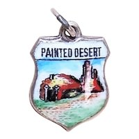Sterling Silver Enamel Travel Shield Charm - Painted Desert