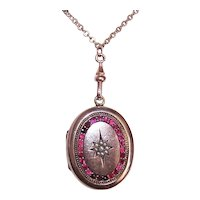"Antique Victorian Gold Filled Garnet Glass Pearl Locket with 27.5"" Chain"