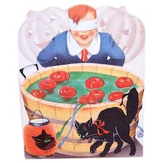 Art Deco Used Halloween Party Invitation - Black Cat, Boy Bobbing Apples