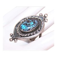Native American Navajo Sterling Silver Blue Diamond Turquoise Ring