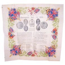 June 22, 1911 Coronation Souvenir of King George V & Queen Mary - Printed Crepe Paper Napkin