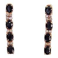 18K Gold 2.72CT TW Diamond Blue Sapphire Drop Earrings - Pierced Earrings with Threaded Posts