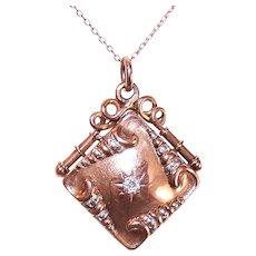 Antique Victorian 14K Gold .11CT Diamond Watch Fob Locket Pendant Charm